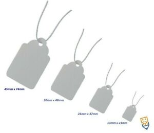 GIFT Jewellery PRICE Tags WHITE Strung STRING TIE ON LABELS Small Medium Large