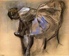 Degas Dancer Drawings: Tying Her Slipper #3 - Art Print