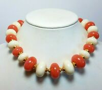 Vintage Chunky Lucite Bead Necklace Salmon Pink Cream Mid Century 18 1/2""