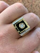 Men's 14k Gold Over Solid 925 Silver Black Onyx Ring ICY Pinky Diamond Sz 7-12