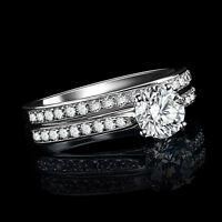Womens Gemstone CZ Wedding Engagement Ring Set Band Rings  Jewelry Size 8 2pcs