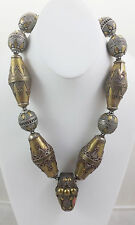 Vintage Afghanistan/Turkoman Ring Pendant and Silver & Brass Beads Necklace