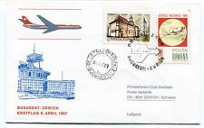 FFC 1967 Swissair Club First Flight Bukarest Zurich Schweiz Posta Romana