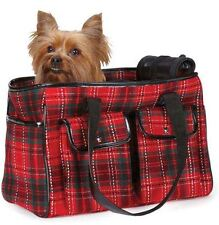 Dog Pet Yuletide Carrier Duffle Bag Carriers Tartan Plaid Tote New