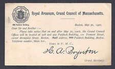1902 ROYAL ARCANUM BOSTON, MASS GRAND COUNCIL, NEW LOCATION NOTICE