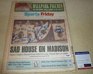 PSA/DNA HULL-ESPOSITO-MIKITA-HALL SIGNED CHICAGO STADIUM BLACKHAWKS NEWSPAPER 72