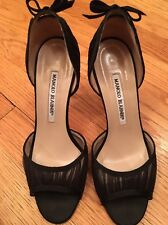 Manolo Blahnik Black Satin Peep Toe D'Orsay With Pleated Chiffon Trim Size 36