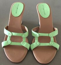 Ladies TOMMY HILFIGER Open Toe Light Green Leather Wedge Heel Shoes Size 9M