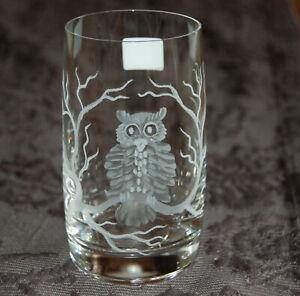 Schönes Trinkglas mit Eulen Uhu Kautz Owl Echt Handgeschliffen