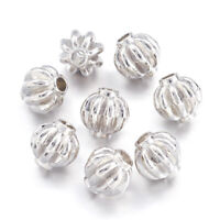 50pcs Alloy Pumpkin Metal Beads Corrugated Platinum Nickel Free Tiny Spacers 8mm
