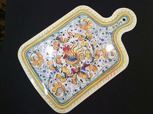 """Le Cadeaux Melamine YELLOW ROOSTER 13.5"""" Cheese Serving Tray or Cutting Board"""