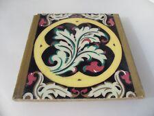 """Large Vintage Spanish Ceramic Tile Old Colourful Ornate Gilt Leaf Design  8"""""""