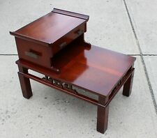 VINTAGE ASIAN CHINOISERIE CHIPPENDALE FRETWORK STEP SIDE TABLE HOLLYWOOD REGENCY