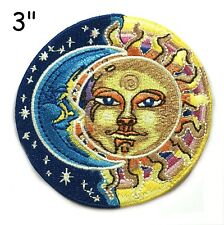 Sun Moon Face Patch Iron on Psychedelic Hippie Stars Celestial Applique Art Boho