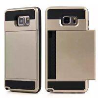 Hybrid Armour Hard Back Card Storage Slide Case Cover For Various Phones