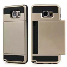 Hybrid Armour Hard Back Card Storage Slide Case Cover For Various Phones