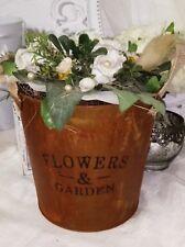 Edelrost Pflanzschale Pflanzeimer Flowers &Garden Terrasse Metall Landhaus 16x17