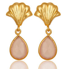 Handmade 14K Yellow Gold Plated Bezel Set Brass Fashion Earring Jewelry