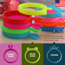 Universal Soft Phone Silicone Bumper Frame Ring Rubber Bracelet Case Cover