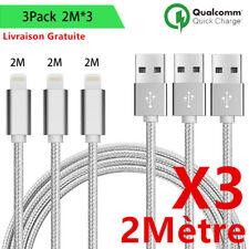LOT3 CABLE USB CHARGEUR POUR IPHONE X 8 7 6S 6 PLUS 5 SE XR XS MAX Rapide 2Mètre