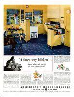 1939 Retro Kitchen Armstrong's Linoleum Floor Porch Vintage Photo Print Ad adL45