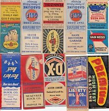 10 lot Matchbook Cover - Gas, Oil, Pittsburgh Pennzoil, Buick , car,  etc