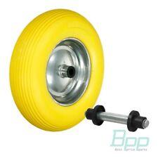 Schubkarrenrad Vollgummi PU Ersatzrad Rad Reifen für Schubkarre + Achse Ø 390 mm