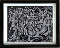 G. VON DER LOO (1911/1996)  Encre - COMPOSITION SURREALISTE  - Signé