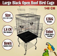 Large Bird Cage Parrot Aviary Pet Stand-alone Budgie Perch Castor Wheels 148 CM