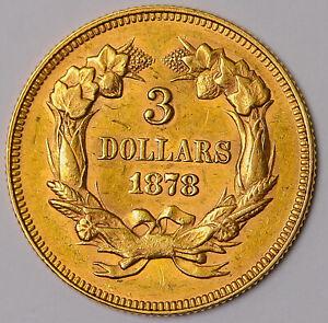 1878 Three Dollar Gold Piece, $3 Gold Indian Princess, Choice! Tough Type!