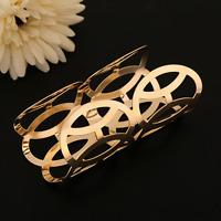 Fashion Gold Plated Geometric Hollow Punk Open Bangle Cuff Wide Bracelet Jewelry