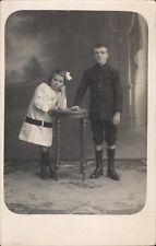 photo carte garçon et fille en pied portrait mode photo Brest E. Pierrez 1900