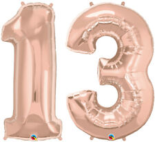 """13th BIRTHDAY BALLOON 34"""" ROSE GOLD 13th BIRTHDAY PARTY SUPPLIES NUMBER BALLOONS"""
