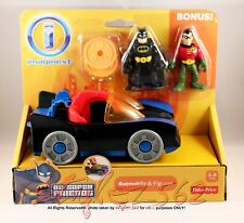 FISHER PRICE IMAGINEXT DC SUPER FRIENDS BATMOBILE W/BATMAN & ROBIN*NEW