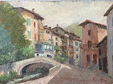 Peinture sur bois compressé paysage Alpes ou Provence signée Fayet Isère? France