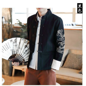 Mens Stand Collar Jacket Blazer Retro Coats Chinese Tang Style Tunic Suit Dragon