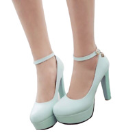 Ankle Strap Women Round Toe Platform High Block Heel Mary Jane Pumps Court Shoes