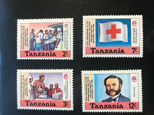 Tansania 1988 Satz Rotes Kreuz Henri Dunant Nobelpreis Frieden 1901 MNH