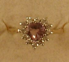 9 ct GOLD HALL MARKED AMETHYST & CUBIC ZIRCONS RING - HEART SHAPED