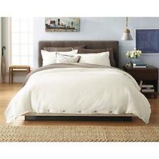 New Threshold King 3pc Linen Cotton 3Pc Duvet Cover Set Cream Ivory Soft White