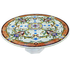 Round Coffee Table Beige Marble Inlay Dining Table Centerpiece Decorative