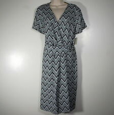Talbots Faux Wrap Dress Short Sleeve Black White Chevron Geometric NWT Sz XL D14