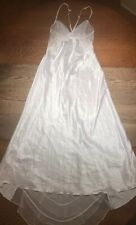 Frederick's of Hollywood Sexy Bridal Negligee Satin White Long Lace Lingerie M