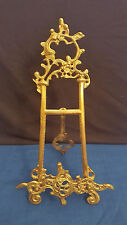 "Vintage Ornate Brass Picture Frame Plate Holder 15"" Easel Display Stand"