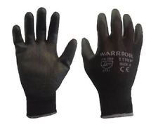 12 Pairs Warrior Black PU Grip Palm Saftey Work Gloves Builders Size 9 Large