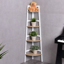 4 Tier Wood Corner Bookcase Ladder Shelf Wall Unit Bookshelf Display Stand Rack