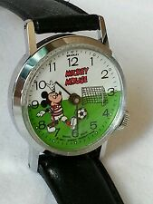Vintage wind up animated foot Soccer Mickey Mouse character watch scarce