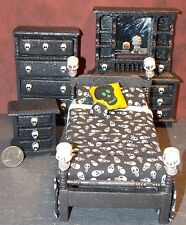Dollhouse Miniature Halloween Bedroom Set Skulls One inch scale 1:12  F2A