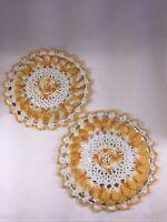 Vintage Pro-Tex Crocheted Trivets 2 Gold Orange White Flower Aluminum/Tin Kitsch