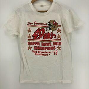 Screen Stars T-Shirt Adult L White San Francisco 49ers Super Bowl XXIII 1988